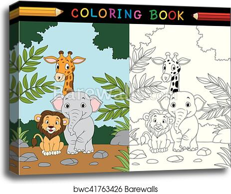 Cartoon Safari Animal Coloring Book, Canvas Print Barewalls Posters &  Prints Bwc41763426