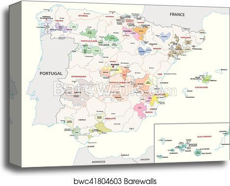 Map Of Spain By Region.Spain Wine Region Map Canvas Print