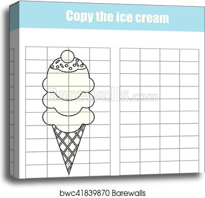 picture about Printable Kids Game known as Grid replica worksheet. enlightening small children video game. Printable Small children sport sheet with ice product canvas print