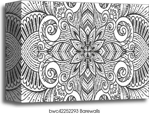 Asian Ethnic Floral Retro Doodle Black And White Background Pattern