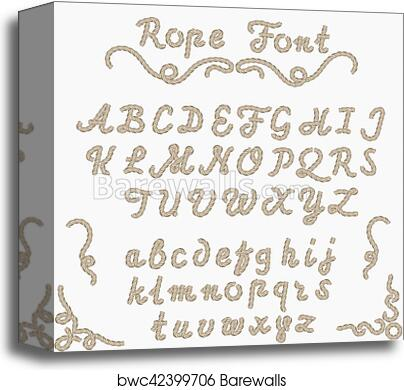 Rope font, nautical hand written Letters canvas print