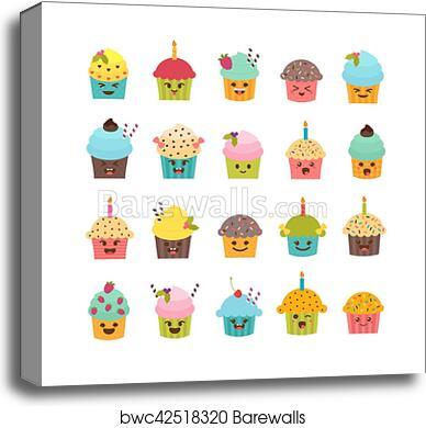 Set Of Cupcakes And Muffins Cute Cartoon Characters Emoji Birthday Icons Desserts Kawaii Canvas Print