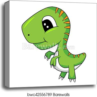 Image of: Little Dino Canvas Print Of Cute Cartoon Of Green Baby Trex Dinosaur Barewalls Canvas Print Of Cute Cartoon Of Green Baby Trex Dinosaur
