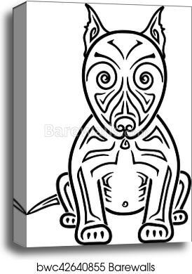 Dog American Pit Bull Terrier Hand Drawing Stylized Maori Tattoo