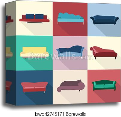 Modern luxury sofas and couches furniture icons set for living room vector  illustration. canvas print