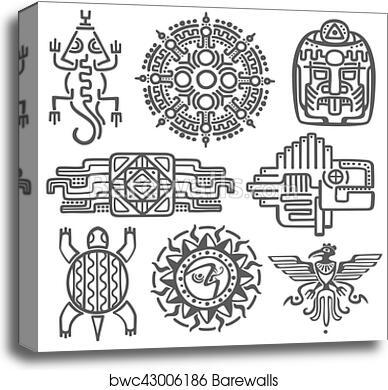 Canvas Print Of Ancient Mexican Vector Mythology Symbols American