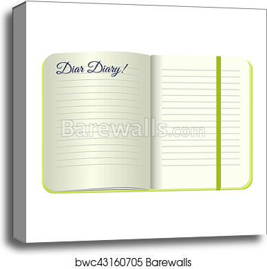 Template Open A Blank Notepad With The Words Dear Diary Vector Personal Green Cover And Bookmark Isolated On White Background Mockup For Your
