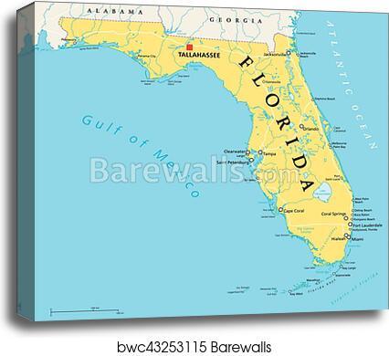 Florida Political Map.Canvas Print Of Florida Political Map Barewalls Posters Prints
