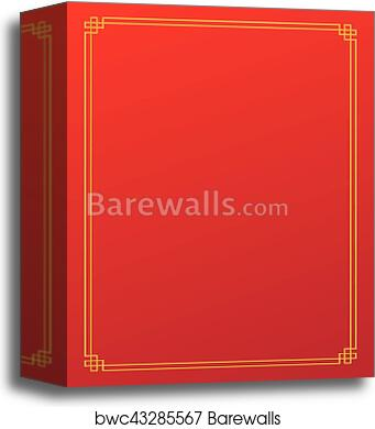 canvas print of red chinese new year empty background with golden border