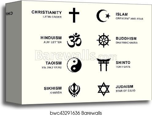 Canvas Print Of World Religion Symbols With English Labeling