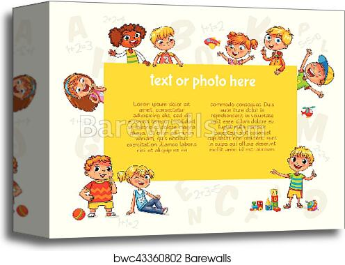 canvas print of happy children holding blank poster template for