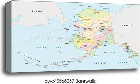 photograph regarding Printable Map of Alaska referred to as Alaska administrative map canvas print