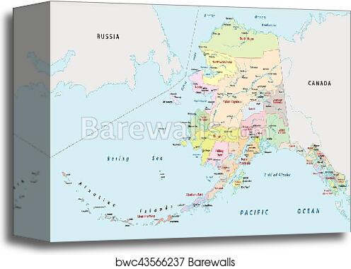 Political Map Of Alaska.Canvas Print Of Alaska Administrative Map Barewalls Posters
