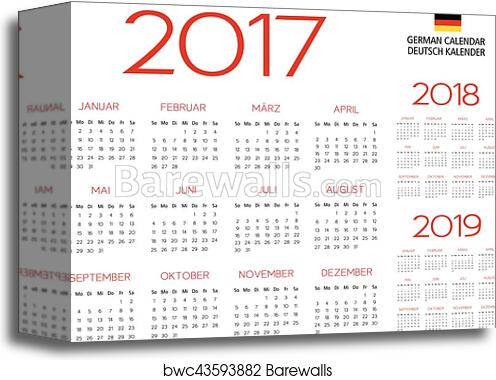 canvas print of german calendar 2017 2018 2019 template