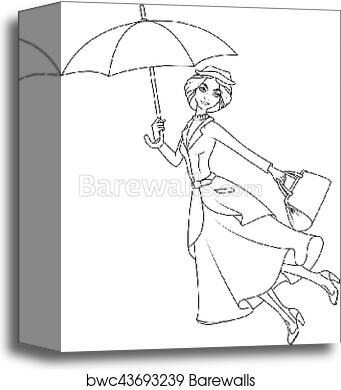 Canvas Print of Coloring book: Mary Poppins a novel character flying ...