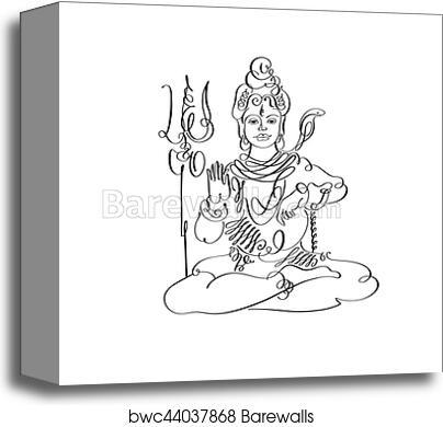 Lord Shiva black and white calligraphic drawing to Maha Shivarat canvas  print