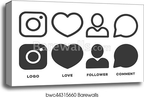 Canvas Print Of Set Instagram Icon Black Color Isolated On White Background For Your Social Media App Design Project Vector Network Icons
