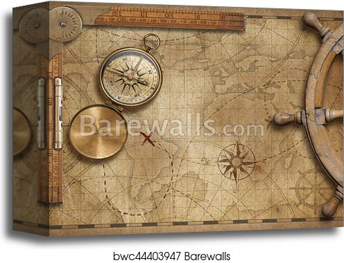 Old World Map Canvas.Adventure And Explore Concept Still Life With Old Nautical World Map