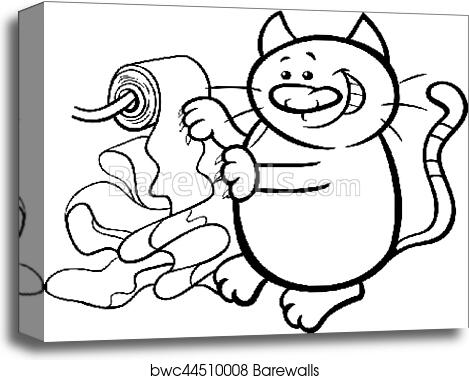 Cat And Toilet Paper Coloring Page Canvas Print Barewalls Posters