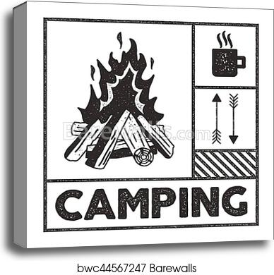 Canvas Print Of Wanderlust Camping Stamp Old School Hand Drawn T