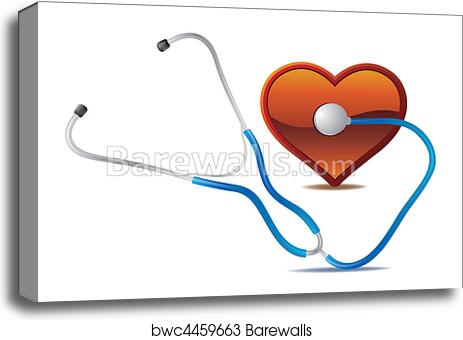 Stethoscope And Heart Canvas Print Barewalls Posters Prints Bwc4459663