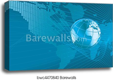 Canvas Print Of World Map Globe Background Barewalls Posters