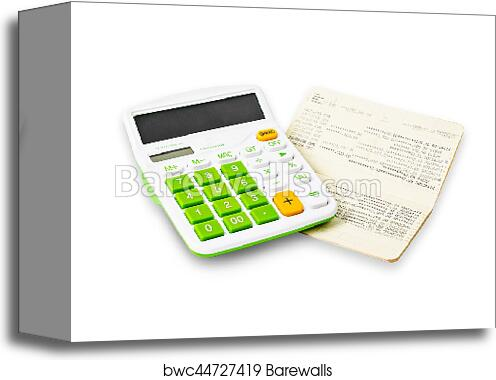 Canvas Print of Calculator and saving account passbook. | Barewalls ...