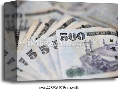 Close Up Saudi Riyal Notes Canvas Print
