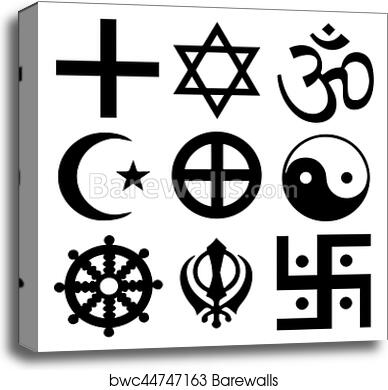 Canvas Print Of Religious Symbols From The Top Organised Faiths Of
