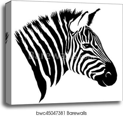 Black And White Linear Paint Draw Zebra Illustration Canvas Print
