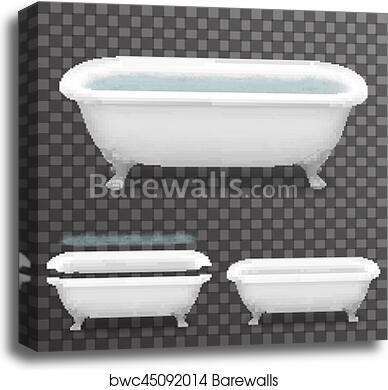 Retro Bath With Water Realistic 3d Parallax Bathtub Transparent Template Background Mock Up Design Vector Illustration Canvas Print