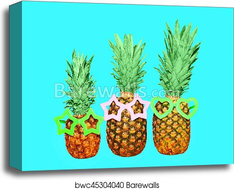 4d72e42ad470 Three pineapple and sunglasses on blue background, colorful ananas photo, Canvas  Print