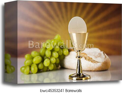 Canvas Print Of Holy Communion Bread Wine For Christianity Religion