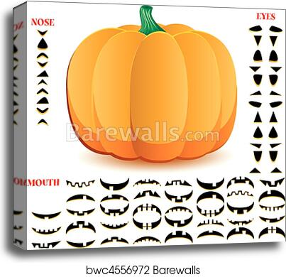 canvas print of halloween pumpkin with big set of mouths eyes and