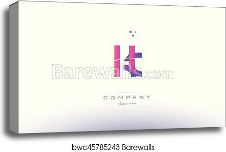 Canvas Print Of Kt K T Pink Modern Creative Alphabet Letter Logo