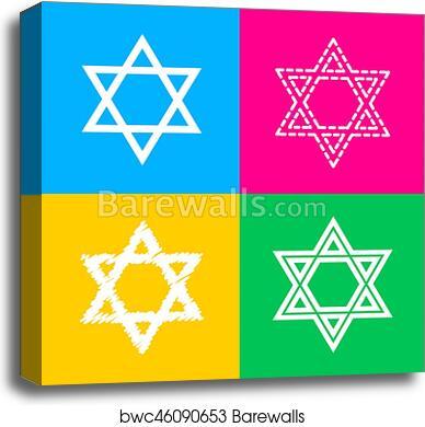Canvas Print Of Shield Magen David Star Symbol Of Israel Four