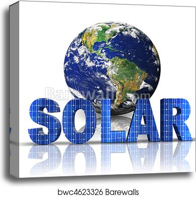 canvas print of word solar with 3d globe barewalls posters
