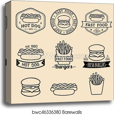 Vector vintage fast food logos set. Retro eating signs collection. Bistro,  snack bar, street restaurant icons. canvas print
