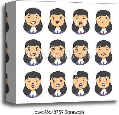 Set of emoji character  Cartoon style emotion icons  Isolated gothic girl  avatars with different facial expressions  Flat illustration caucasian