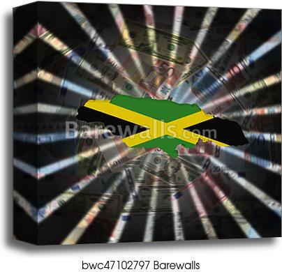 a0e98a7f9 Jamaica map flag on currency burst illustration canvas print