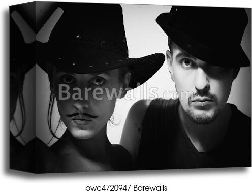 Canvas Print of man and woman with mustache wearing hats  ed4c4b89a390