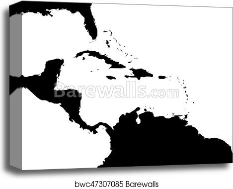 Map of Caribbean region and Central America. Black land silhouette ...