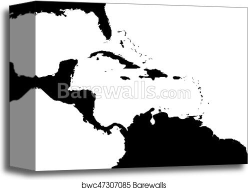 Canvas Print of Map of Caribbean region and Central America. Black ...