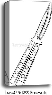 Vector Illustration Butterfly Knife Balisong Canvas Print