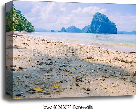 Landscape Of El Nido Sandy Beach With Huge Rock Palawan Island Philippines Canvas Print