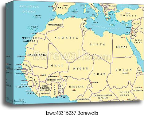 North Africa countries political map canvas print