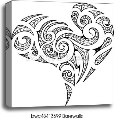 a616e3fc0 Heart shape in Maori style tattoo, Canvas Print | Barewalls Posters ...