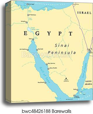 Egypt Sinai Peninsula Political Map Canvas Print Barewalls