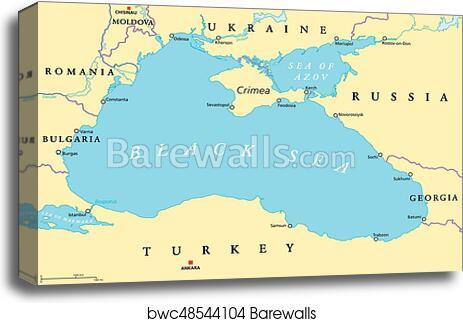 Map Black Sea Coast Russia Turkey Bosphorus Art Canvas Print ... on