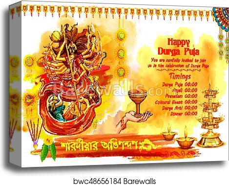 Goddess Durga in Happy Dussehra background with bengali text sharodiya  abhinandan meaning Autumn greetings canvas print